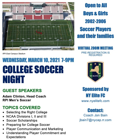 NY Elite FC College Night 2021 – Pre-registration Required