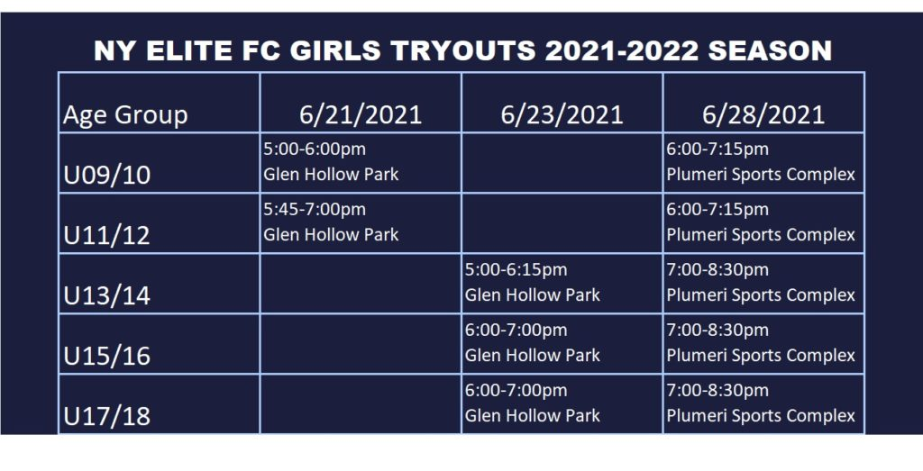 Girls tryouts 2021
